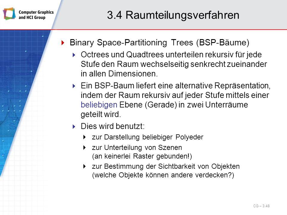 3.4 Raumteilungsverfahren Binary Space-Partitioning Trees (BSP-Bäume) Octrees und Quadtrees unterteilen rekursiv für jede Stufe den Raum wechselseitig