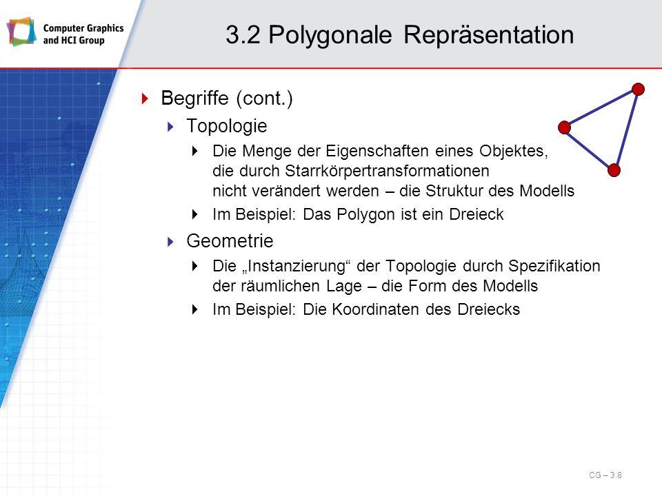3.2 Polygonale Repräsentation Begriffe (cont.) Die Grundbausteine Ecken/Eckpunkte oder vertices Kanten oder edges (Planare) Flächen oder faces Hierarchie Face /faces Bem.:Zur Speicherung und Verarbeitung von vertices, edges und faces werden geeignete Datenstrukturen benötigt.
