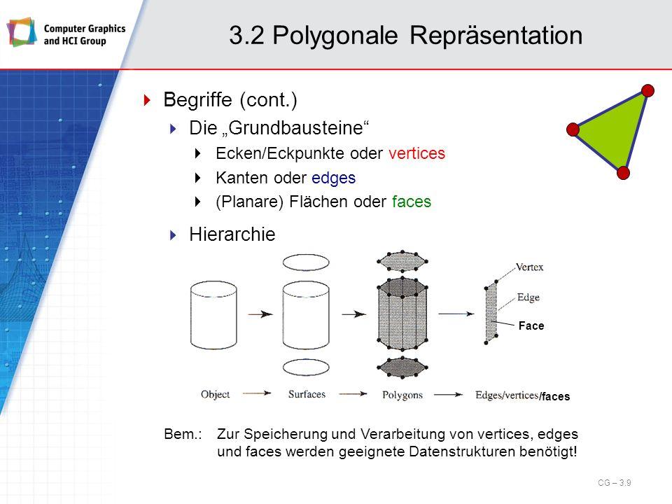 3.2 Polygonale Repräsentation Bemerkung: Kanten Offensichtlich existieren in der approximierenden polygonalen Darstellung zwei Arten von Kanten: Kanten, die auch in Wirklichkeit existieren Diese sollen als Kanten sichtbar bleiben Kanten, die in der Realität nicht existieren, Diese sollte der Renderer verschwinden lassen 70er Jahre: Schattierungsalgorithmen (interpolative shading algorithms) Flat, Gouraud, Phong shading (siehe späteres Kapitel!) Art der Kanten bestimmt in Datenstruktur z.B.