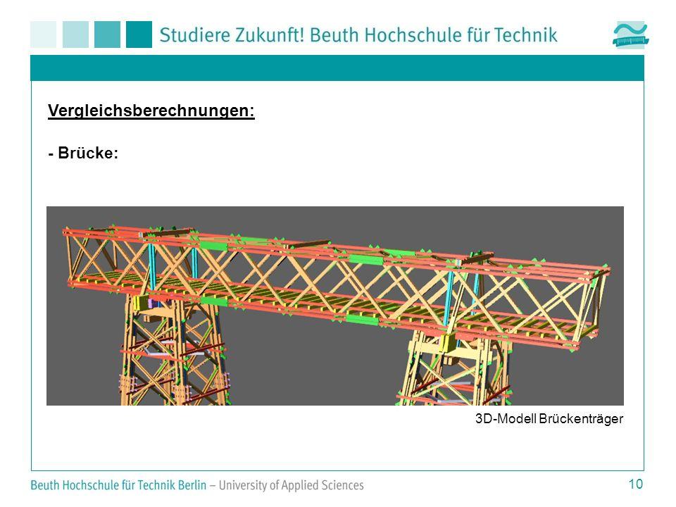 10 Vergleichsberechnungen: - Brücke: 3D-Modell Brückenträger