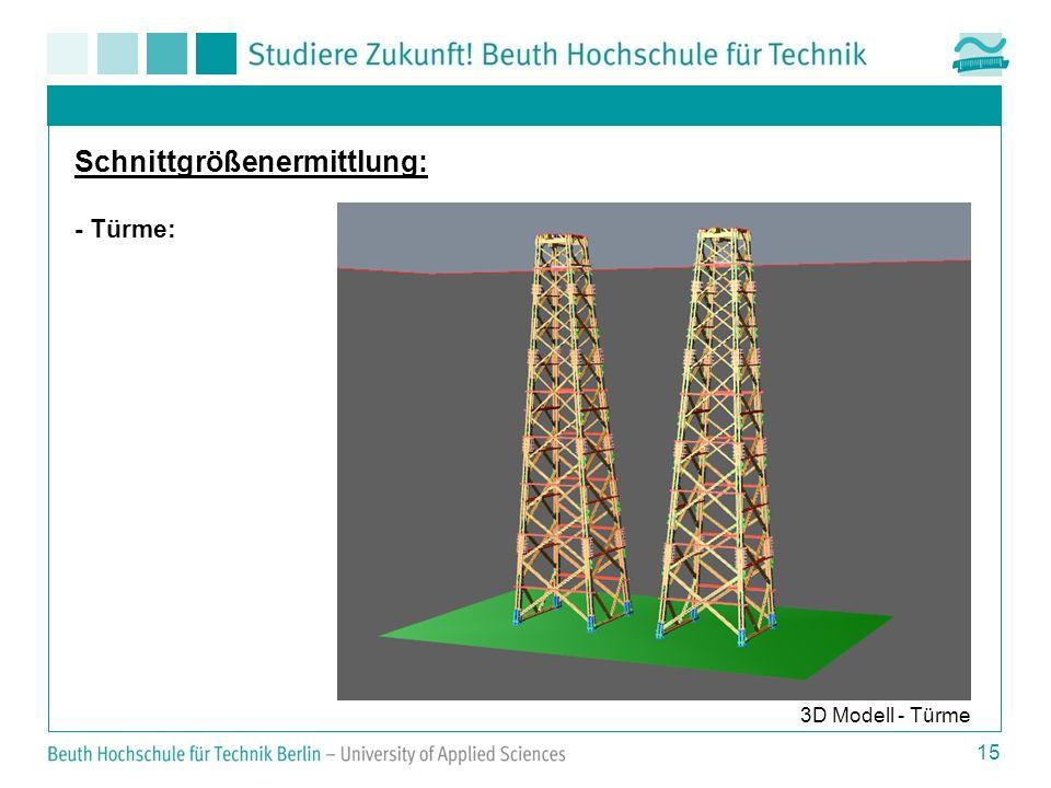 15 3D Modell - Türme Schnittgrößenermittlung: - Türme: