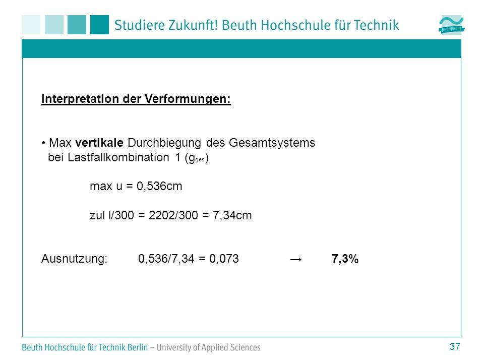 37 Interpretation der Verformungen: Max vertikale Durchbiegung des Gesamtsystems bei Lastfallkombination 1 (g ges ) max u = 0,536cm zul l/300 = 2202/300 = 7,34cm Ausnutzung:0,536/7,34 = 0,073 7,3%