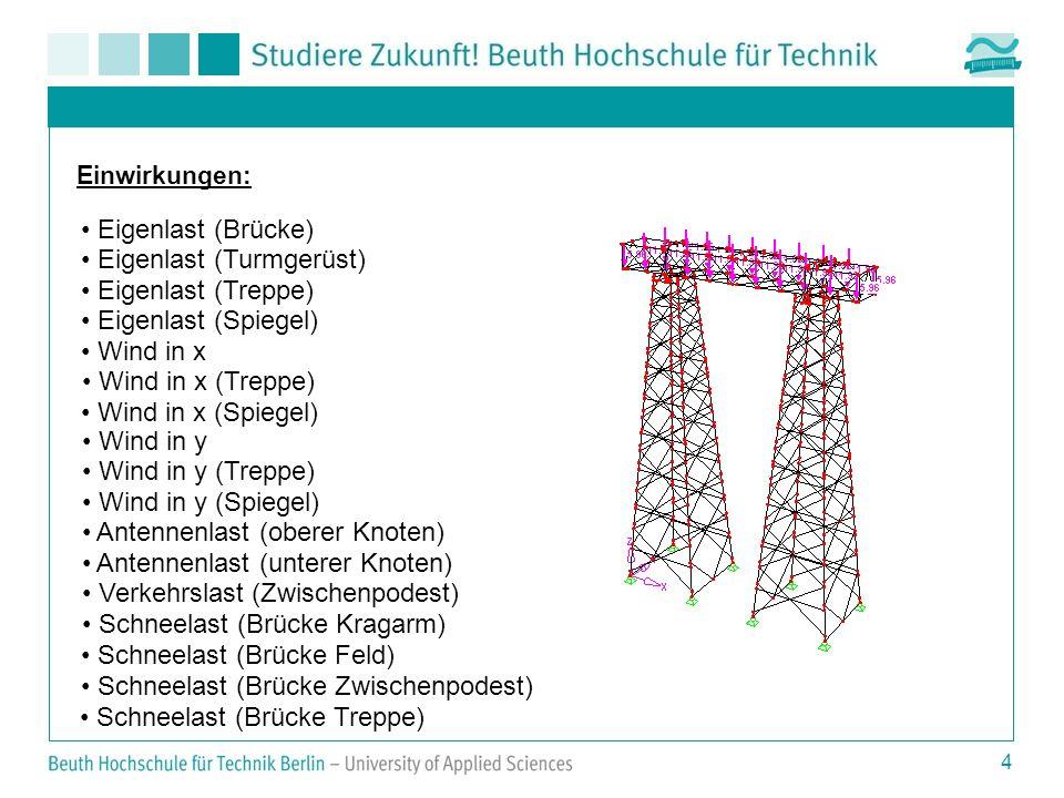 4 Einwirkungen: Eigenlast (Brücke) Eigenlast (Turmgerüst) Eigenlast (Treppe) Eigenlast (Spiegel) Wind in x Wind in x (Treppe) Wind in x (Spiegel) Wind in y Wind in y (Treppe) Wind in y (Spiegel) Antennenlast (oberer Knoten) Antennenlast (unterer Knoten) Verkehrslast (Zwischenpodest) Schneelast (Brücke Kragarm) Schneelast (Brücke Feld) Schneelast (Brücke Zwischenpodest) Schneelast (Brücke Treppe)