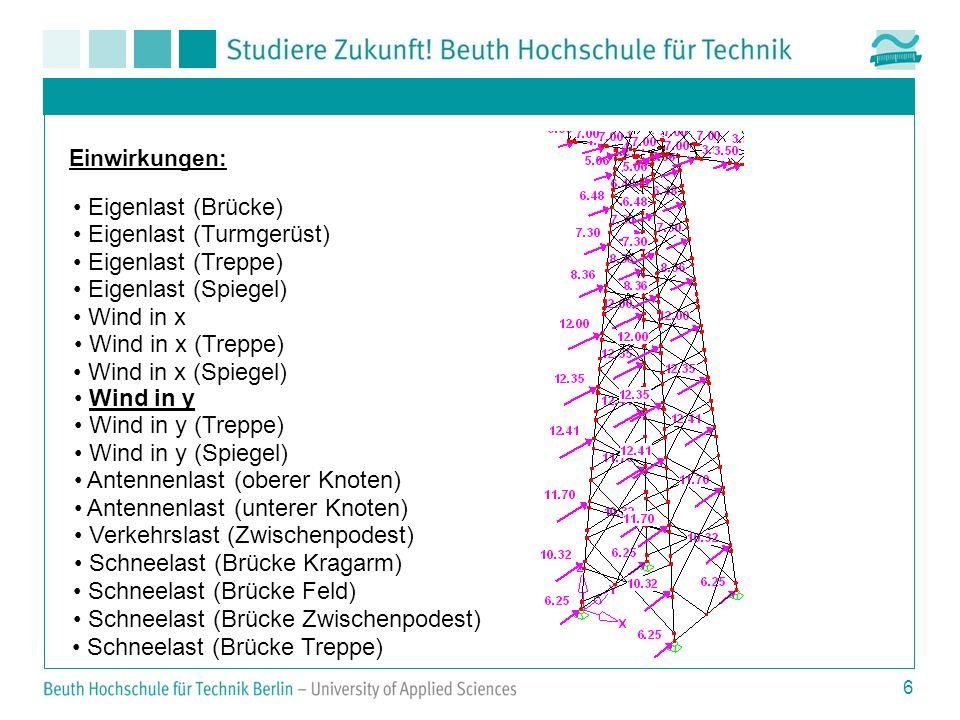 6 Einwirkungen: Eigenlast (Brücke) Eigenlast (Turmgerüst) Eigenlast (Treppe) Eigenlast (Spiegel) Wind in x Wind in x (Treppe) Wind in x (Spiegel) Wind