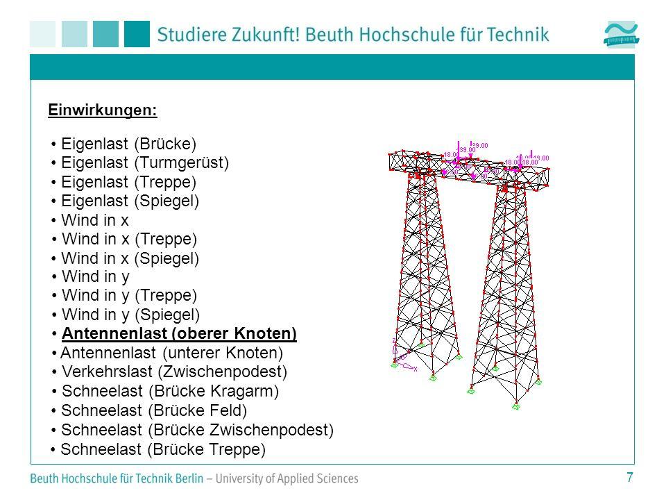 7 Einwirkungen: Eigenlast (Brücke) Eigenlast (Turmgerüst) Eigenlast (Treppe) Eigenlast (Spiegel) Wind in x Wind in x (Treppe) Wind in x (Spiegel) Wind