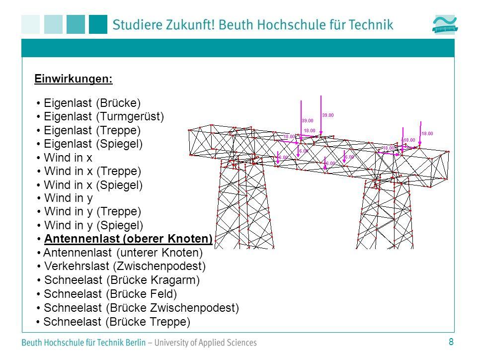 8 Einwirkungen: Eigenlast (Brücke) Eigenlast (Turmgerüst) Eigenlast (Treppe) Eigenlast (Spiegel) Wind in x Wind in x (Treppe) Wind in x (Spiegel) Wind in y Wind in y (Treppe) Wind in y (Spiegel) Antennenlast (oberer Knoten) Antennenlast (unterer Knoten) Verkehrslast (Zwischenpodest) Schneelast (Brücke Kragarm) Schneelast (Brücke Feld) Schneelast (Brücke Zwischenpodest) Schneelast (Brücke Treppe)