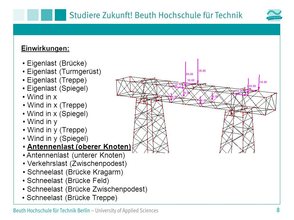 8 Einwirkungen: Eigenlast (Brücke) Eigenlast (Turmgerüst) Eigenlast (Treppe) Eigenlast (Spiegel) Wind in x Wind in x (Treppe) Wind in x (Spiegel) Wind