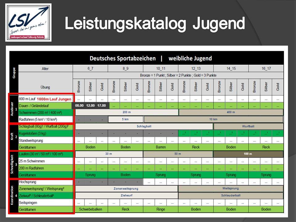 Weitsprung Zonenweitsprung Zielwurf Schleuderball 30 m50 m100 m SchlagballWurfball 5 km 10 km 200 m400 m 08.00 12.00 17.00