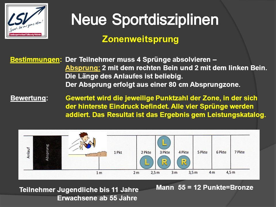 Zonenweitsprung Bestimmungen: Der Teilnehmer muss 4 Sprünge absolvieren – Absprung: 2 mit dem rechten Bein und 2 mit dem linken Bein. Die Länge des An