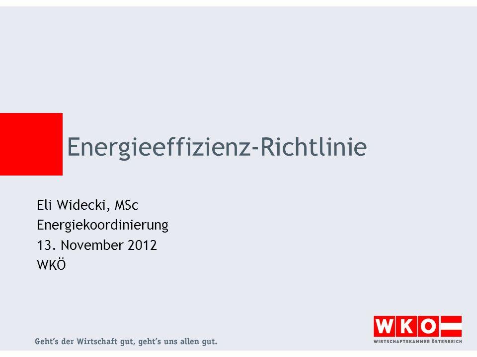 Energieeffizienz-Richtlinie Eli Widecki, MSc Energiekoordinierung 13. November 2012 WKÖ