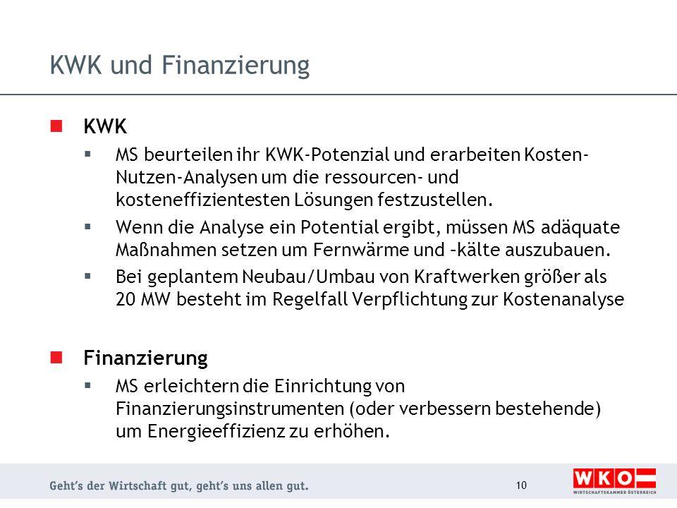 KWK und Finanzierung KWK MS beurteilen ihr KWK-Potenzial und erarbeiten Kosten- Nutzen-Analysen um die ressourcen- und kosteneffizientesten Lösungen f