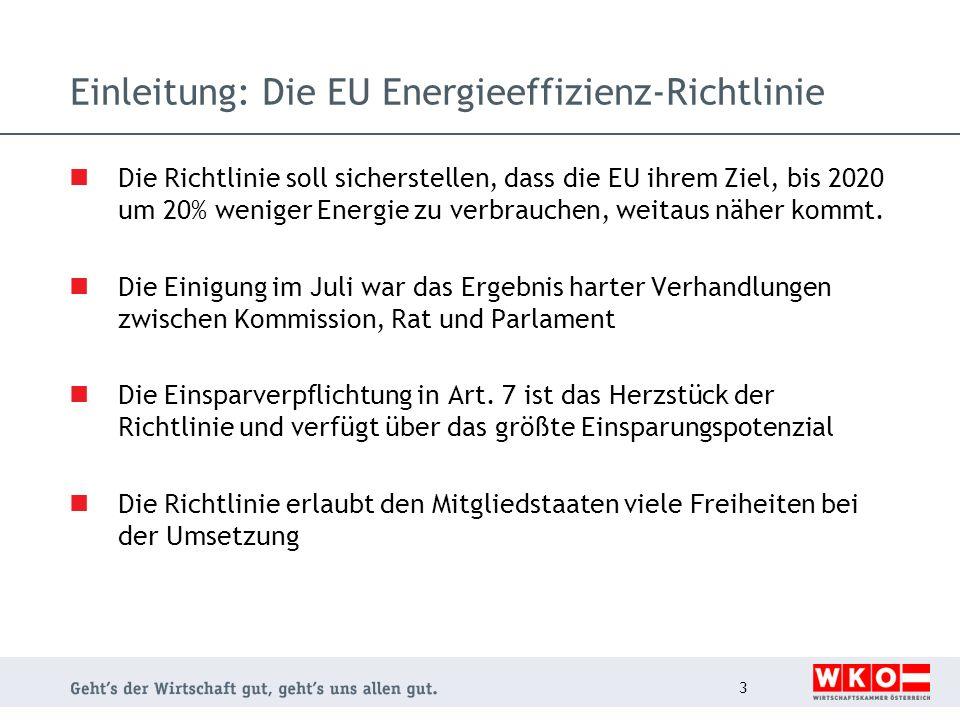 Einleitung: Die EU Energieeffizienz-Richtlinie Die Richtlinie soll sicherstellen, dass die EU ihrem Ziel, bis 2020 um 20% weniger Energie zu verbrauch