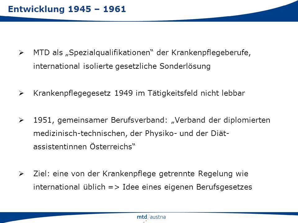 MTD als Spezialqualifikationen der Krankenpflegeberufe, international isolierte gesetzliche Sonderlösung Krankenpflegegesetz 1949 im Tätigkeitsfeld ni