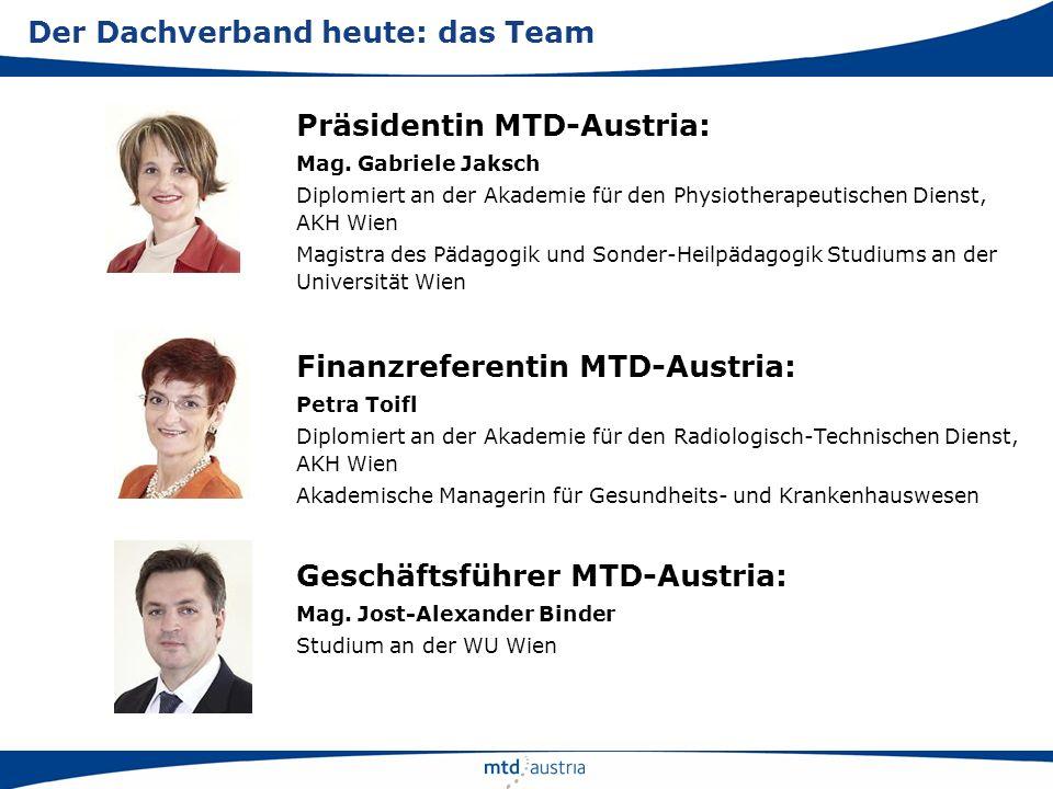 Präsidentin MTD-Austria: Mag. Gabriele Jaksch Diplomiert an der Akademie für den Physiotherapeutischen Dienst, AKH Wien Magistra des Pädagogik und Son