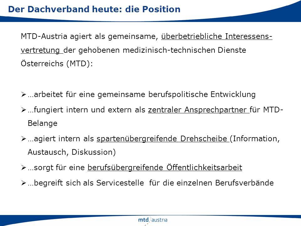 MTD-Austria agiert als gemeinsame, überbetriebliche Interessens- vertretung der gehobenen medizinisch-technischen Dienste Österreichs (MTD): …arbeitet