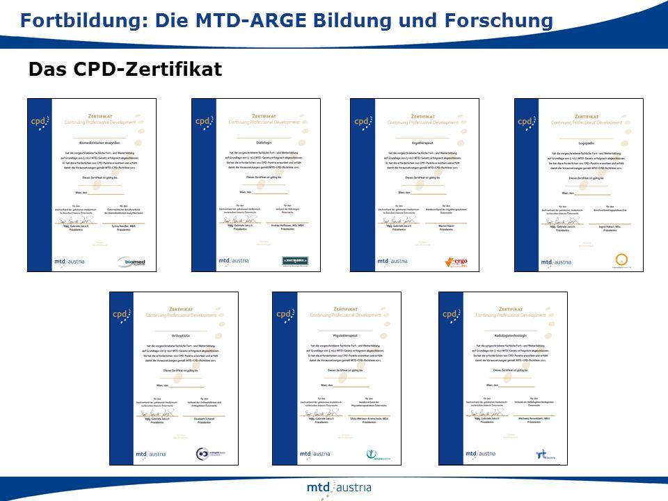 Das CPD-Zertifikat Fortbildung: Die MTD-ARGE Bildung und Forschung