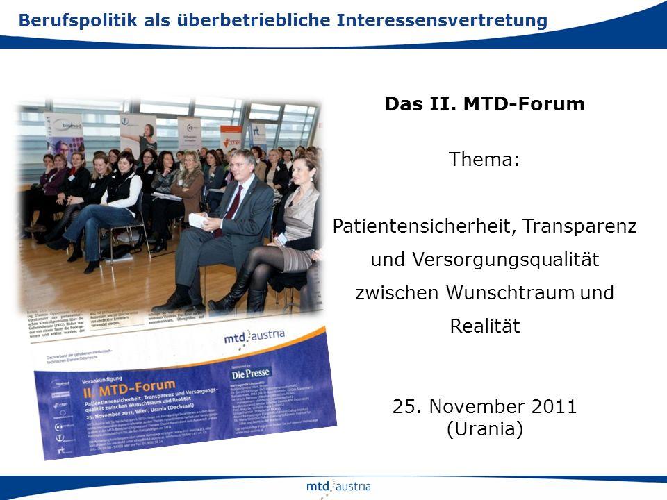 Das II. MTD-Forum Thema: Patientensicherheit, Transparenz und Versorgungsqualität zwischen Wunschtraum und Realität 25. November 2011 (Urania) Berufsp