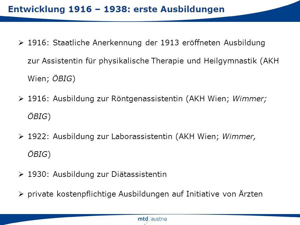 1916: Staatliche Anerkennung der 1913 eröffneten Ausbildung zur Assistentin für physikalische Therapie und Heilgymnastik (AKH Wien; ÖBIG) 1916: Ausbil