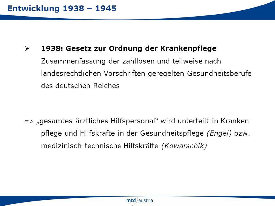 1938: Gesetz zur Ordnung der Krankenpflege Zusammenfassung der zahllosen und teilweise nach landesrechtlichen Vorschriften geregelten Gesundheitsberuf