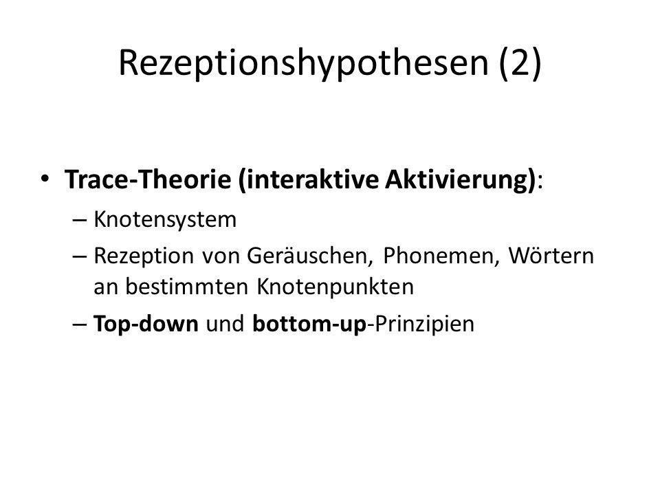 Rezeptionshypothesen (2) Trace-Theorie (interaktive Aktivierung): – Knotensystem – Rezeption von Geräuschen, Phonemen, Wörtern an bestimmten Knotenpun