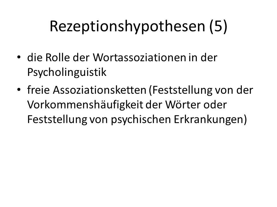 Rezeptionshypothesen (5) die Rolle der Wortassoziationen in der Psycholinguistik freie Assoziationsketten (Feststellung von der Vorkommenshäufigkeit d