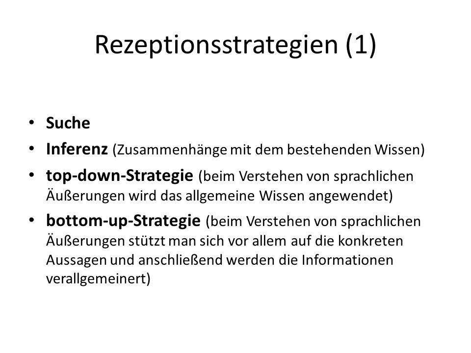 Rezeptionsstrategien (1) Suche Inferenz (Zusammenhänge mit dem bestehenden Wissen) top-down-Strategie (beim Verstehen von sprachlichen Äußerungen wird