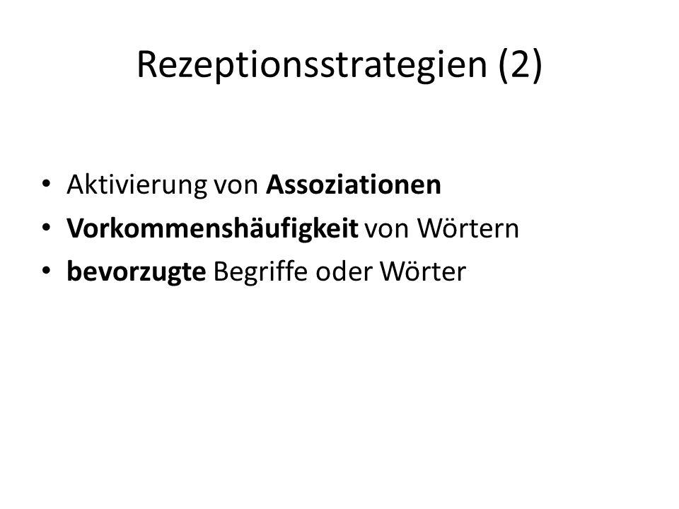 Rezeptionsstrategien (2) Aktivierung von Assoziationen Vorkommenshäufigkeit von Wörtern bevorzugte Begriffe oder Wörter