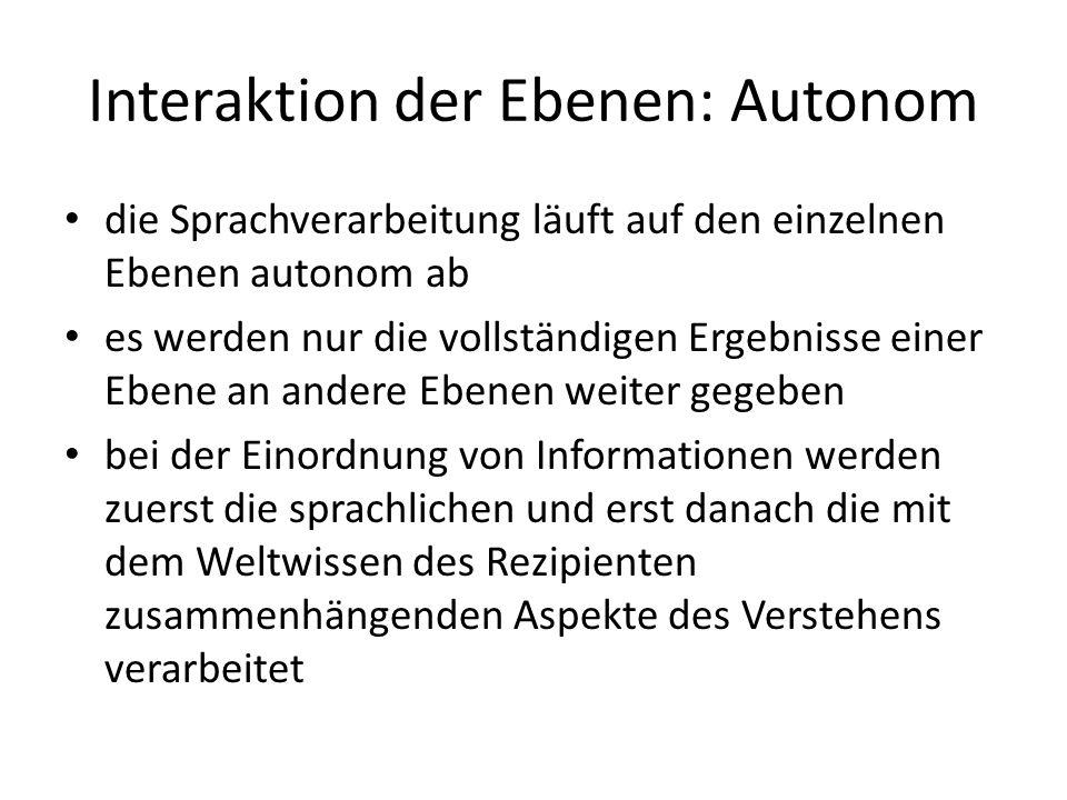 Interaktion der Ebenen: Autonom die Sprachverarbeitung läuft auf den einzelnen Ebenen autonom ab es werden nur die vollständigen Ergebnisse einer Eben