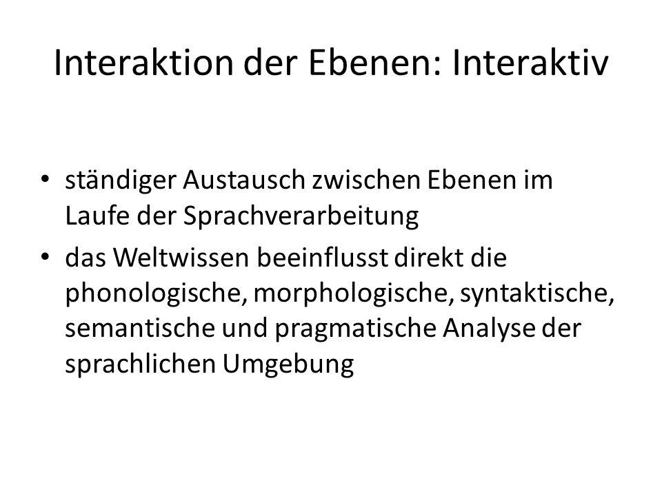 Interaktion der Ebenen: Interaktiv ständiger Austausch zwischen Ebenen im Laufe der Sprachverarbeitung das Weltwissen beeinflusst direkt die phonologi