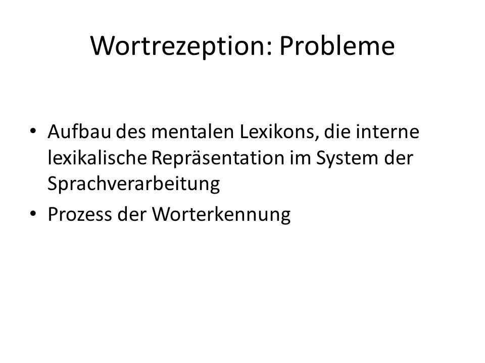 Wortrezeption: Probleme Aufbau des mentalen Lexikons, die interne lexikalische Repräsentation im System der Sprachverarbeitung Prozess der Worterkennu
