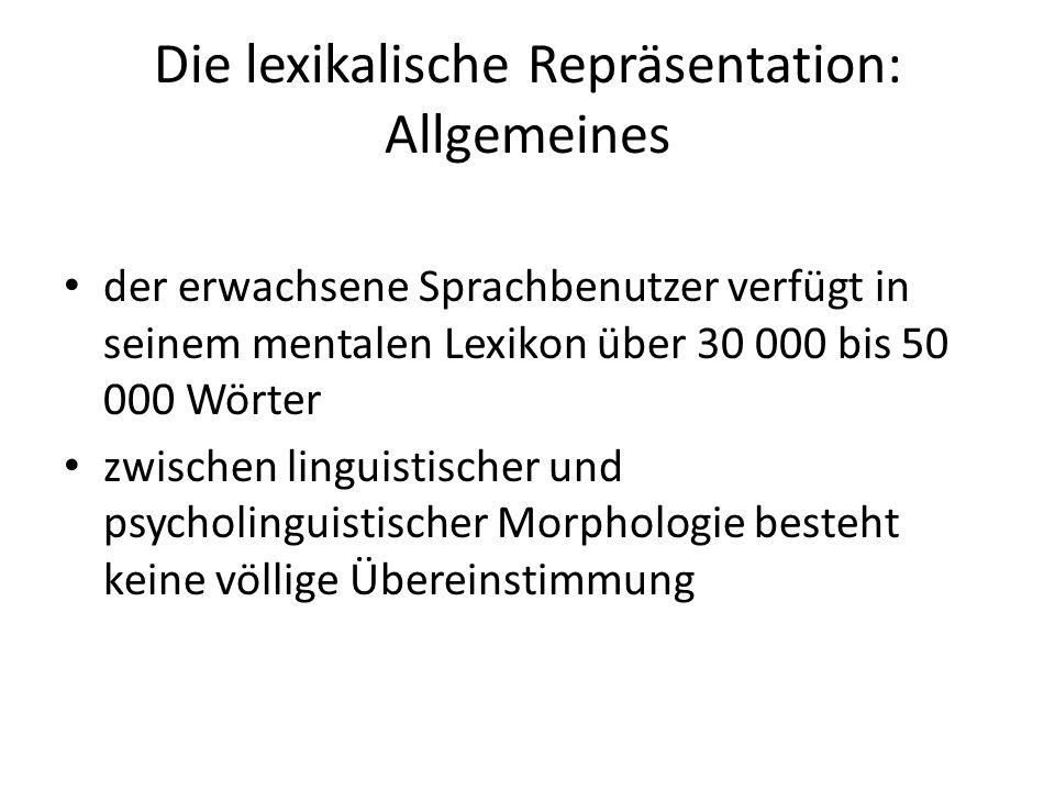 Die lexikalische Repräsentation: Allgemeines der erwachsene Sprachbenutzer verfügt in seinem mentalen Lexikon über 30 000 bis 50 000 Wörter zwischen l