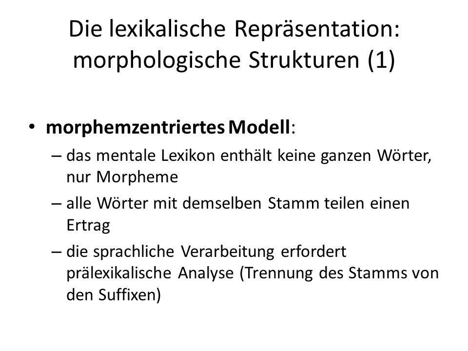 Die lexikalische Repräsentation: morphologische Strukturen (1) morphemzentriertes Modell: – das mentale Lexikon enthält keine ganzen Wörter, nur Morph