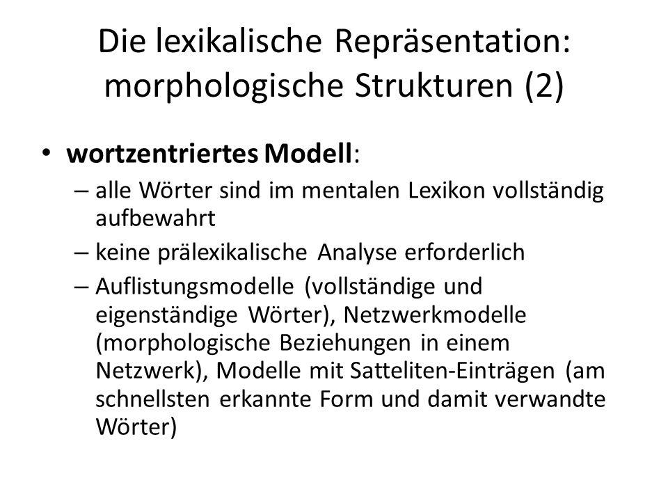 Die lexikalische Repräsentation: morphologische Strukturen (2) wortzentriertes Modell: – alle Wörter sind im mentalen Lexikon vollständig aufbewahrt –