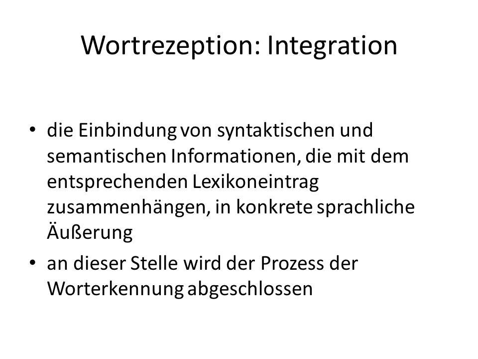 Wortrezeption: Integration die Einbindung von syntaktischen und semantischen Informationen, die mit dem entsprechenden Lexikoneintrag zusammenhängen,
