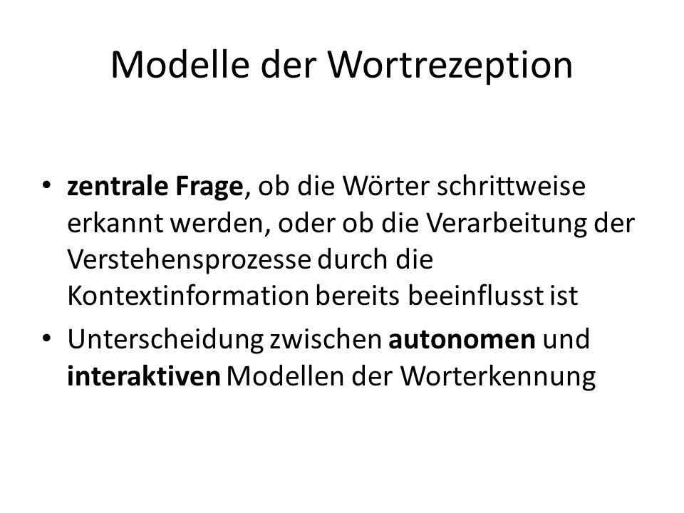 Modelle der Wortrezeption zentrale Frage, ob die Wörter schrittweise erkannt werden, oder ob die Verarbeitung der Verstehensprozesse durch die Kontext
