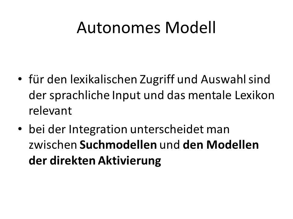 Autonomes Modell für den lexikalischen Zugriff und Auswahl sind der sprachliche Input und das mentale Lexikon relevant bei der Integration unterscheid