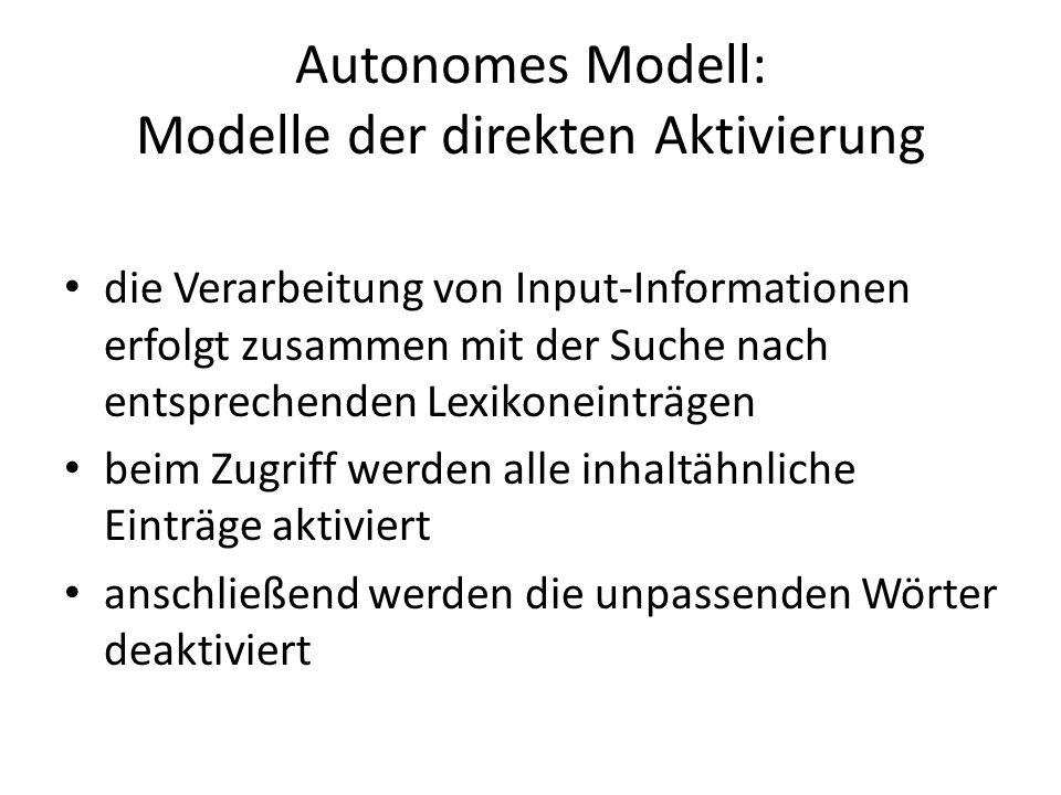 Autonomes Modell: Modelle der direkten Aktivierung die Verarbeitung von Input-Informationen erfolgt zusammen mit der Suche nach entsprechenden Lexikon