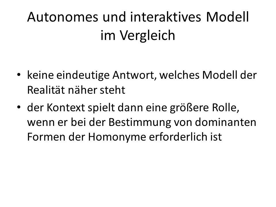 Autonomes und interaktives Modell im Vergleich keine eindeutige Antwort, welches Modell der Realität näher steht der Kontext spielt dann eine größere