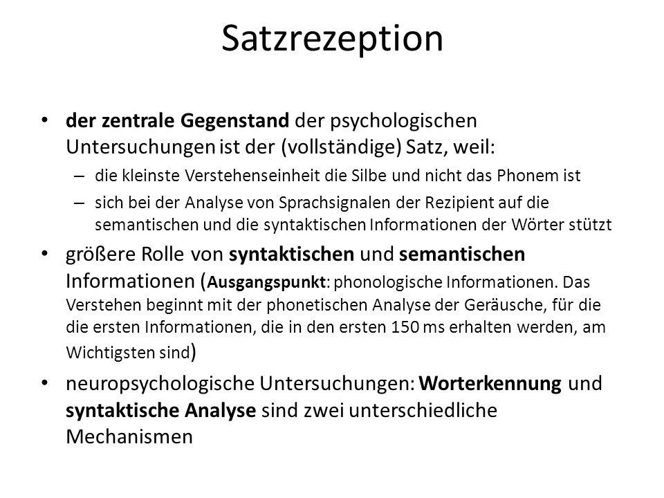 Satzrezeption der zentrale Gegenstand der psychologischen Untersuchungen ist der (vollständige) Satz, weil: – die kleinste Verstehenseinheit die Silbe
