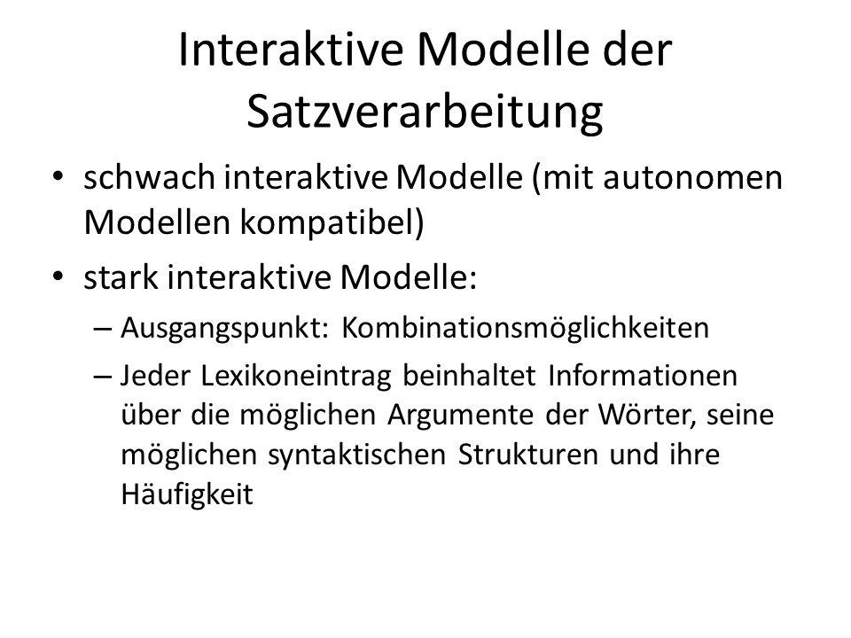 Interaktive Modelle der Satzverarbeitung schwach interaktive Modelle (mit autonomen Modellen kompatibel) stark interaktive Modelle: – Ausgangspunkt: K