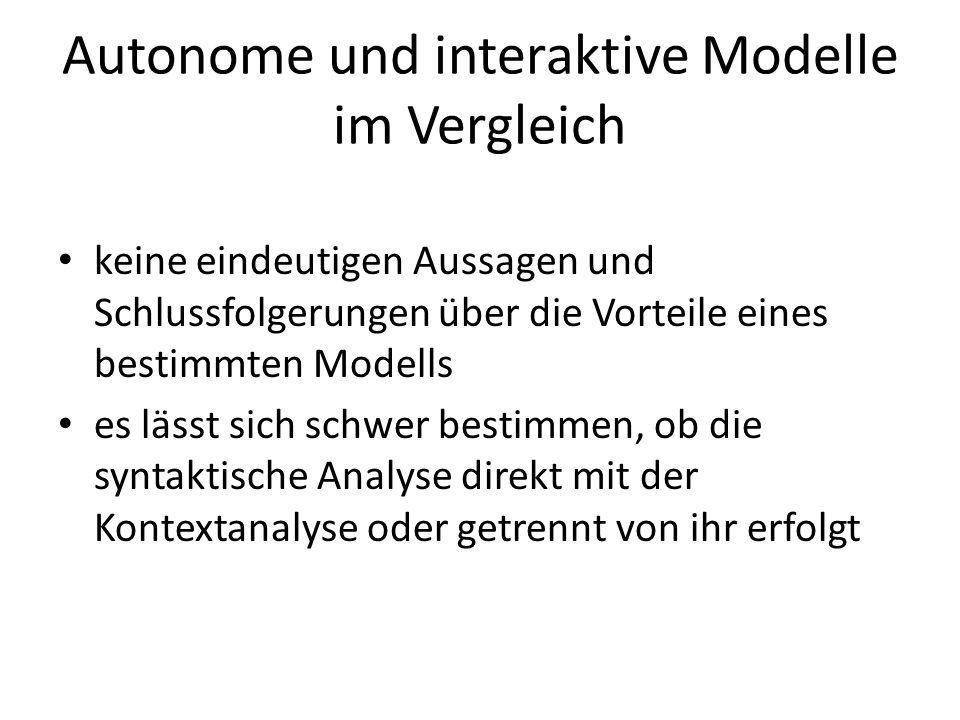 Autonome und interaktive Modelle im Vergleich keine eindeutigen Aussagen und Schlussfolgerungen über die Vorteile eines bestimmten Modells es lässt si