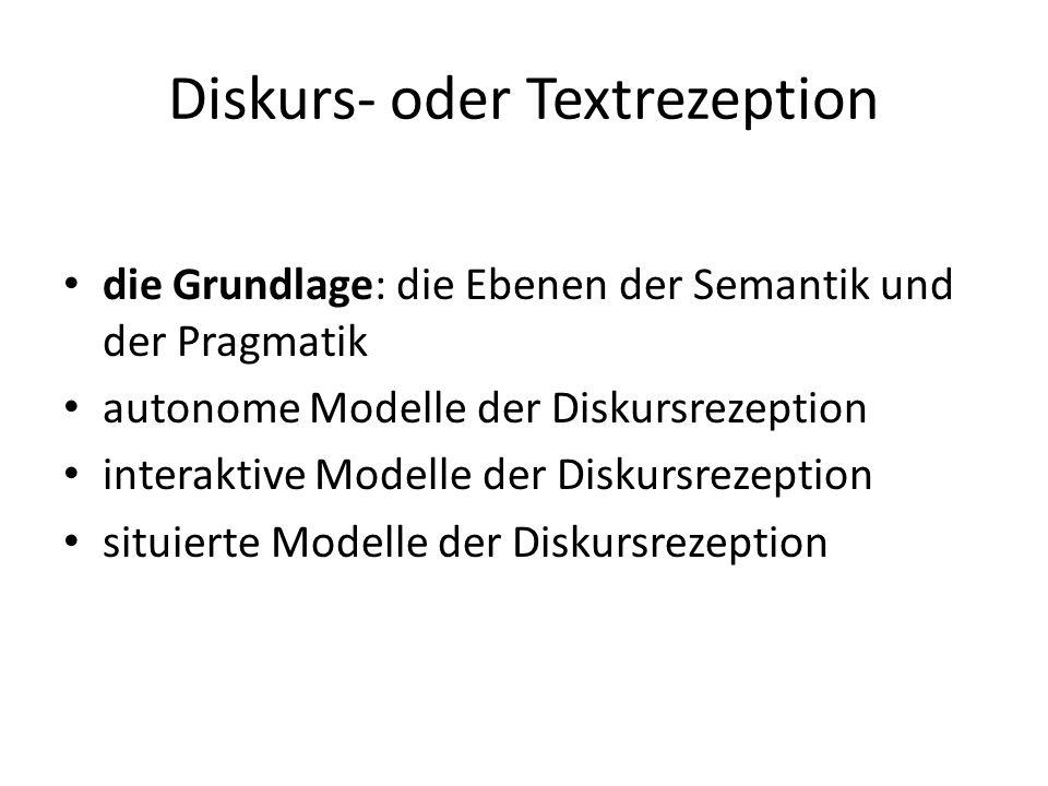 Diskurs- oder Textrezeption die Grundlage: die Ebenen der Semantik und der Pragmatik autonome Modelle der Diskursrezeption interaktive Modelle der Dis