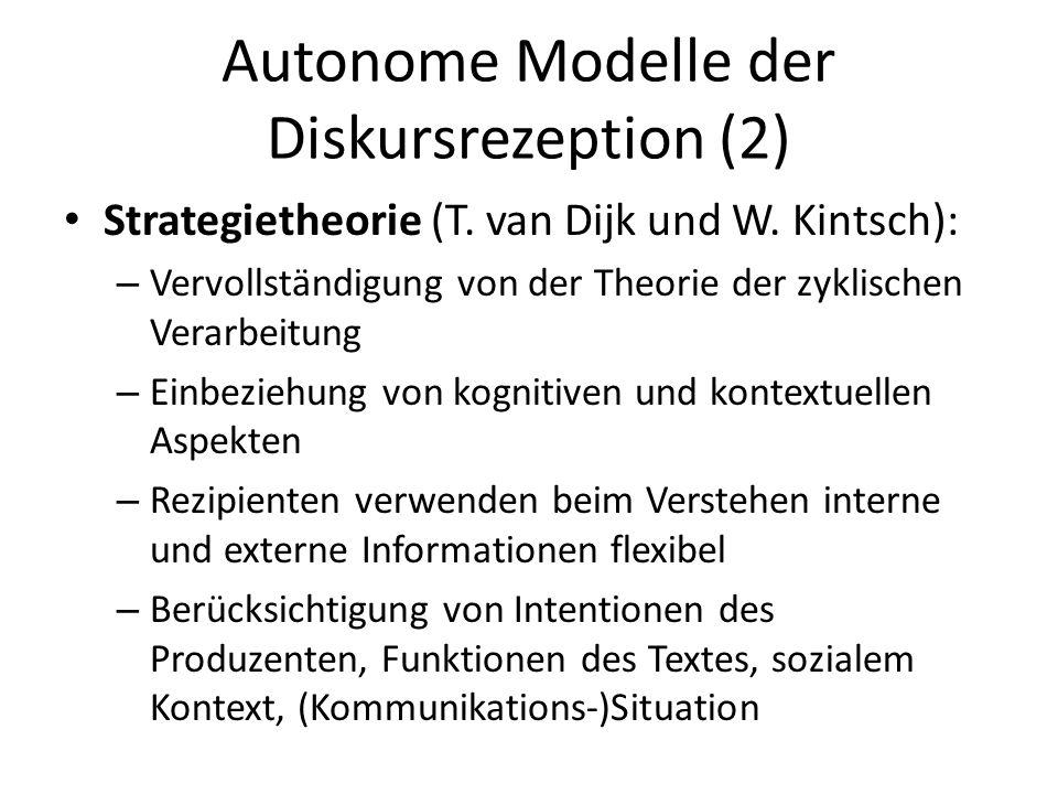 Autonome Modelle der Diskursrezeption (2) Strategietheorie (T. van Dijk und W. Kintsch): – Vervollständigung von der Theorie der zyklischen Verarbeitu