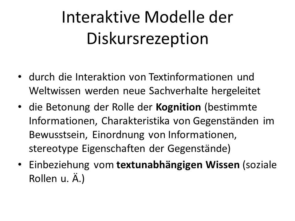 Interaktive Modelle der Diskursrezeption durch die Interaktion von Textinformationen und Weltwissen werden neue Sachverhalte hergeleitet die Betonung