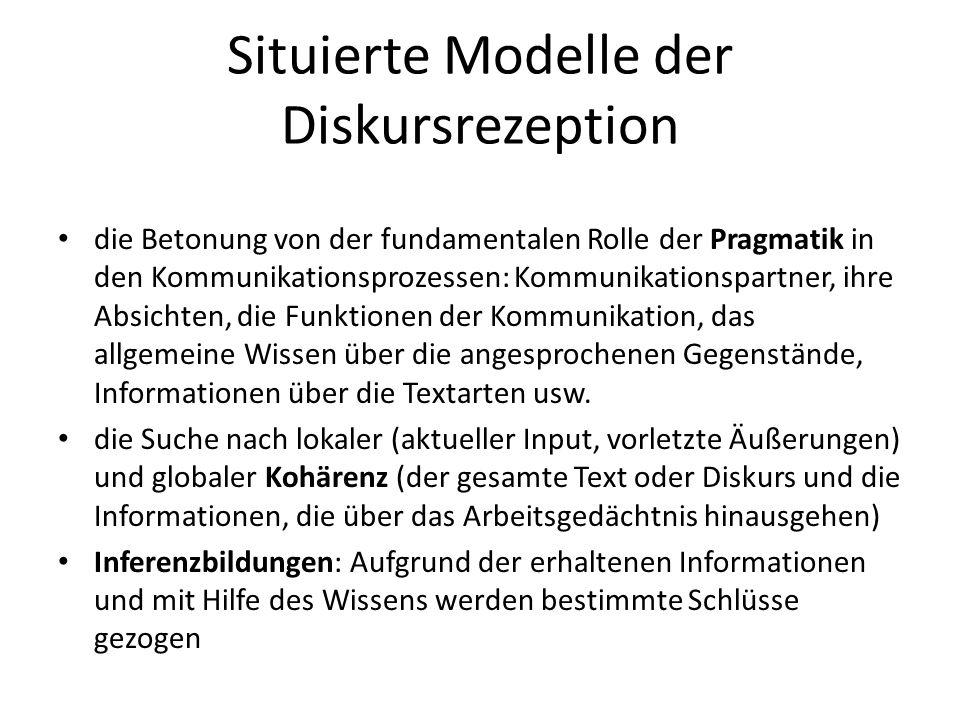 Situierte Modelle der Diskursrezeption die Betonung von der fundamentalen Rolle der Pragmatik in den Kommunikationsprozessen: Kommunikationspartner, i