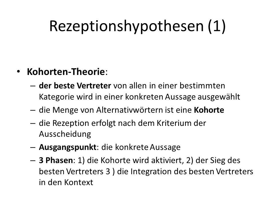 Rezeptionshypothesen (1) Kohorten-Theorie: – der beste Vertreter von allen in einer bestimmten Kategorie wird in einer konkreten Aussage ausgewählt –