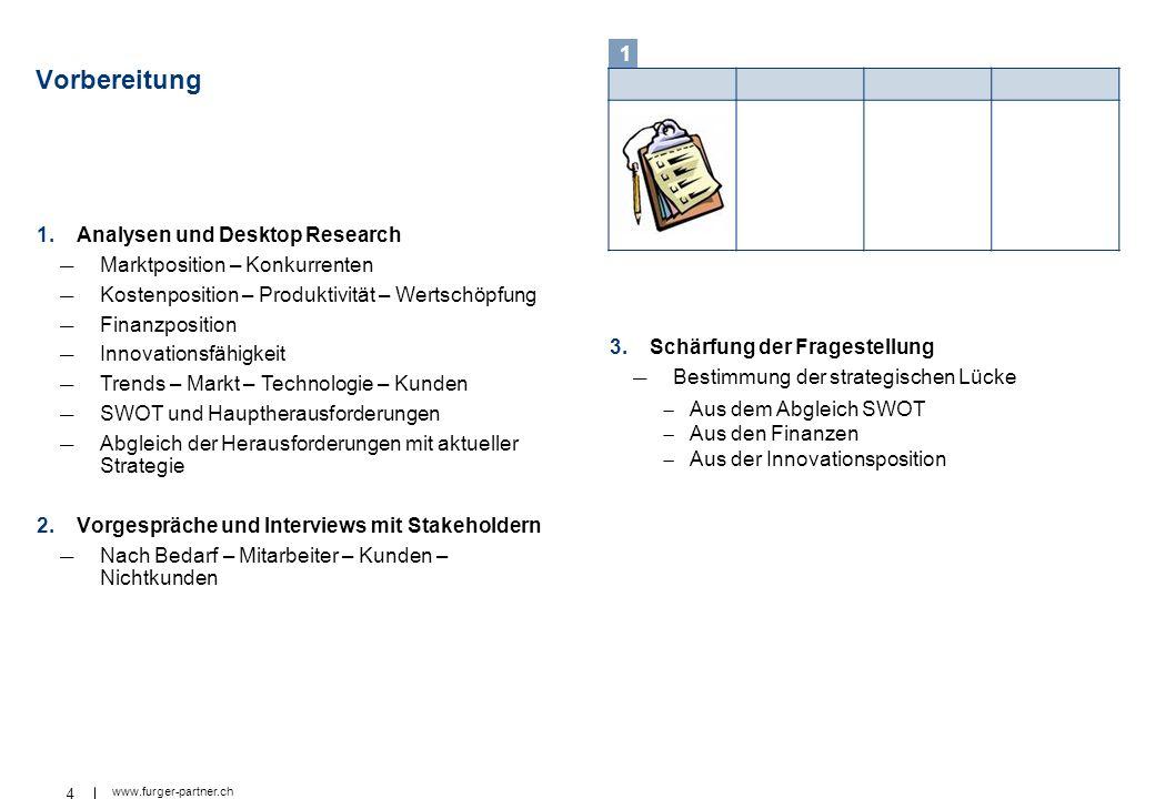 4 www.furger-partner.ch Vorbereitung 1.Analysen und Desktop Research Marktposition – Konkurrenten Kostenposition – Produktivität – Wertschöpfung Finan