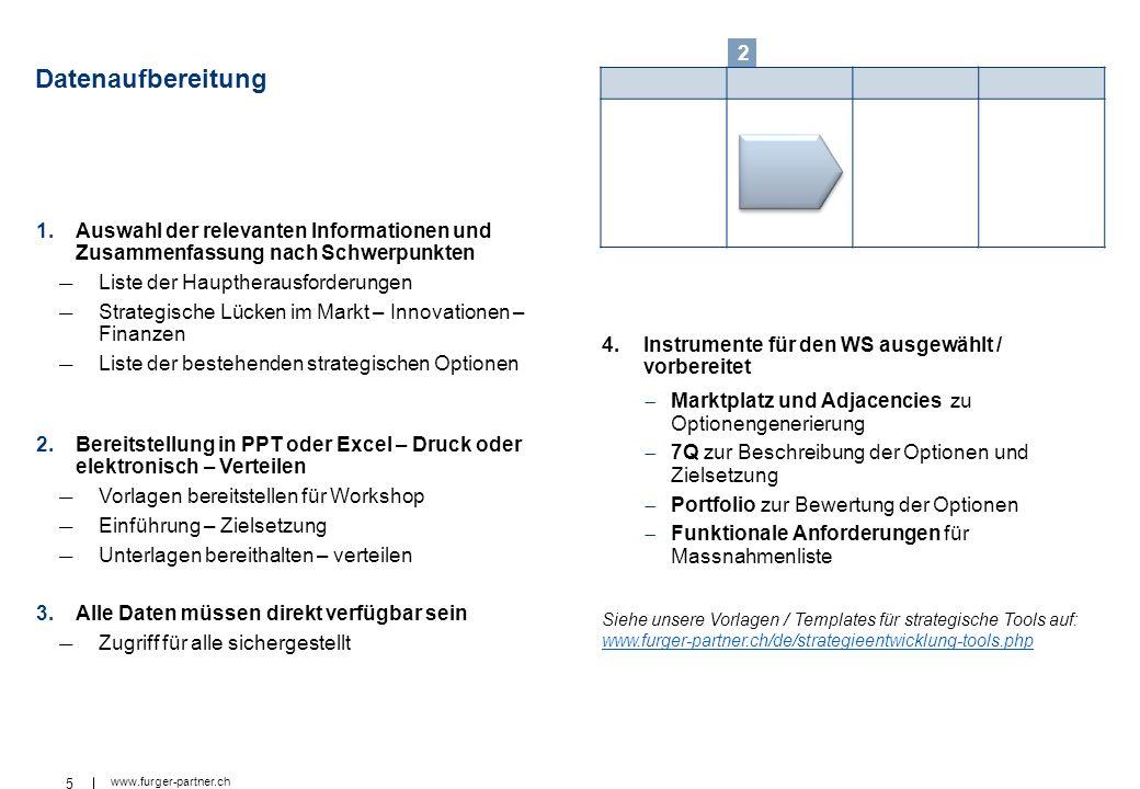 5 www.furger-partner.ch Datenaufbereitung 1.Auswahl der relevanten Informationen und Zusammenfassung nach Schwerpunkten Liste der Hauptherausforderung