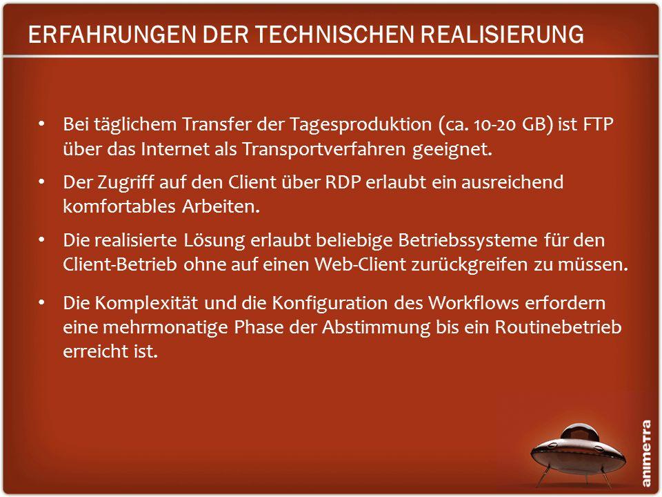 ERFAHRUNGEN DER TECHNISCHEN REALISIERUNG Bei täglichem Transfer der Tagesproduktion (ca. 10-20 GB) ist FTP über das Internet als Transportverfahren ge