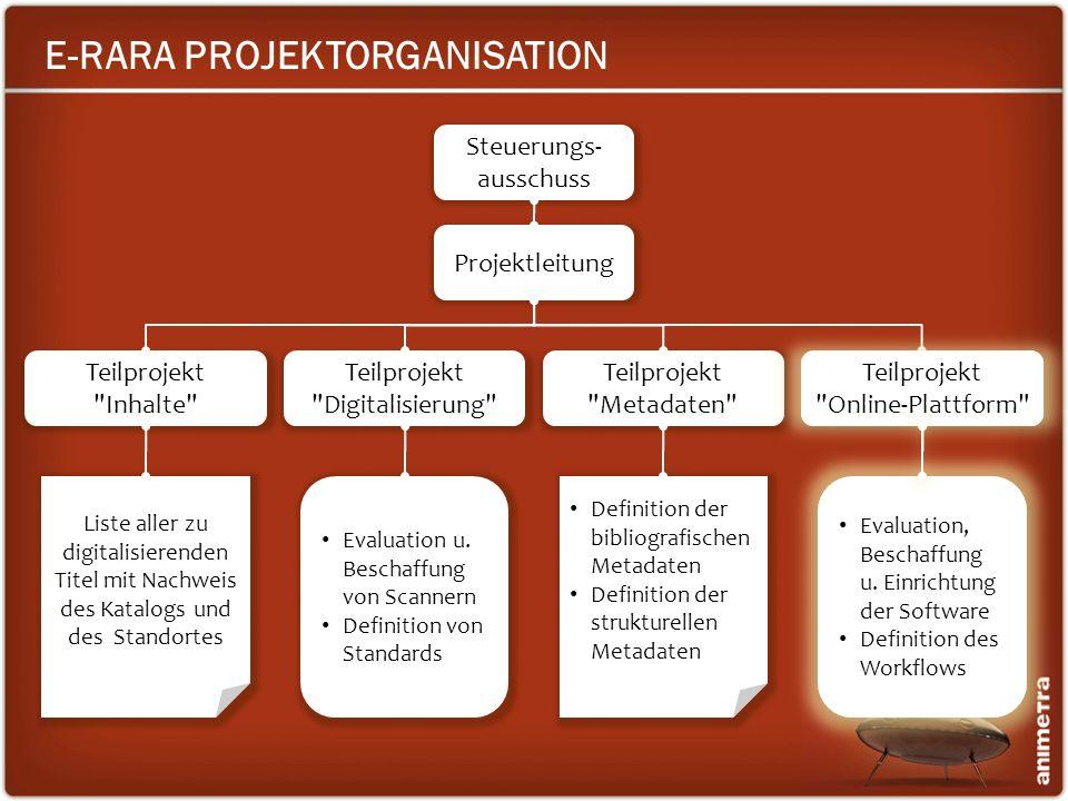 E-RARA PROJEKTORGANISATION Projektleitung Teilprojekt